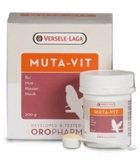 Muta-Vit ชนิดผง พิเศษ!! ผสมใช้ได้ทั้งกับน้ำและอาหาร เร่งผลัดขน บำรุงขนขึ้นใหม่ บรรจุ 200 กรัม.