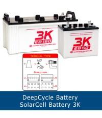 แบตเตอรี่ deep cycle โซล่าเซลส์ solar cell 3K EB130 LL 12V 160Ah ขั้ว LL