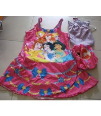 ชุดว่ายน้ำเจ้าหญิง Princess ลิขสิทธิ์แท้ มีหมวกอาบน้ำและถุงผ้าให้ค่ะ