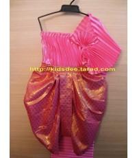 ชุดไทยเด็กผู้หญิง ชุดเสื้อเกาะอกสไบพลีท โจงผ้าตาดดิ้น
