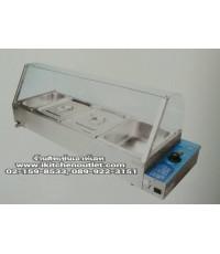 ถาดอุ่นอาหารไฟฟ้า 4 ถาด (ขนาด 37x116.5 ซม.) กระจกโค้ง