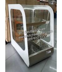 ตู้โชว์อุ่นอาหารใช้ไฟฟ้า กระจกโค้ง ตะแกรงสแตนเลส 3 ชั้น