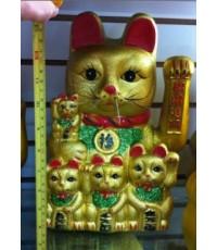 แมวกวัก-พลาสติกส่าย(ทองด้าน)-แมว3ตัวที่ท้อง-15นิ้ว