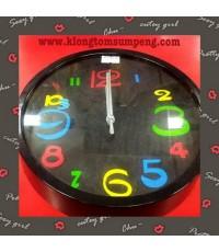 นาฬิกาแขวนติดผนัง-กลม-ตัวเลขเล็กกับใหญ่สีสัน(เดินเงียบ) 19.5CM ขอบหน้าปัดสีดำ