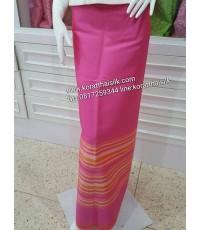 ผ้าไหมตัดชุดไทย สำหรับตัดผ้าถุง สีชมพู