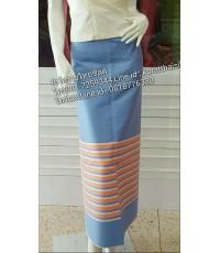 ผ้าทอเชิง สำหรับตัดผ้าถุง สีฟ้าเหลือบชมพู1
