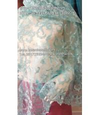 ผ้าลูกไม้พิมพ์ฟรอยด์ สีน้ำทะเล สวยหรูมากๆ