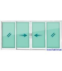 W8 หน้าต่างบานเลื่อน 4 บาน ขนาด 239 x 119 cm