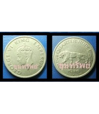 George vi king   quarter rupee india xu ปี 1946  ตัวอย่าง งดจำหน่าย