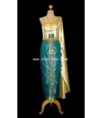 ชุดไทยจักรี สีเขียว-ทอง TC 000276