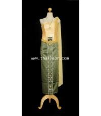 ชุดไทยจักรี สีเขียว-ทอง TC 000308