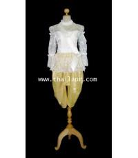ชุดไทยรัชกาลที่ 5 สีงาช้าง-ทอง (ผ้าไทย)
