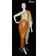 ชุดไทยจักรพรรดิ สีน้ำตาล-ทอง TE 000139