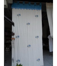 ผ้าม่านผ้าฝ้ายประตู2สีปักลายปลา