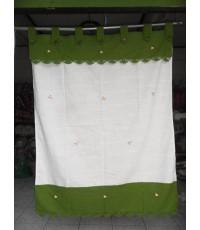 ผ้าม่านผ้าฝ้ายสีเขียว-ขาว