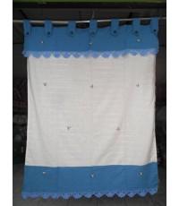 ผ้าม่านผ้าฝ้ายสองสีฟ้า-ขาวปักดอกและถักโคร์เช