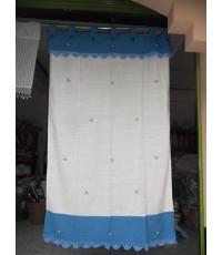 ผ้าม่านผ้าฝ้ายประตูสองสีฟ้า-ขาวปักดอกและถักโคร์เช