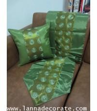 ชุดหมอนอิงผ้าไหม  ขนาดเตียง 3.5 ฟุต  และ  6 ฟุต  สีเขียว