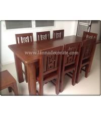 โต๊ะอาหารไม้สักเป็นชุดมาพร้อมกับเเก้าอี้ไม้สัก6ตัวทาสีให้หมด