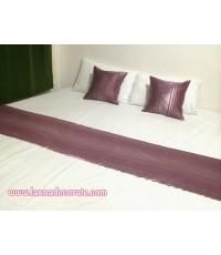 ชุดหมอนอิง+ผ้าคาดเตียงสีม่วง (เกรดพรีเมี่ยม)