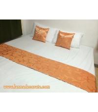 ชุดหมอนอิง+ผ้าคาดเตียงสีส้ม (เกรดพรีเมี่ยม)
