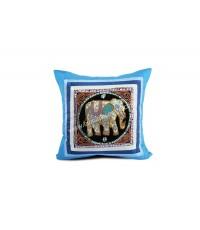 หมอนอิงลายช้างใหญ่สีฟ้า