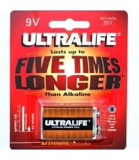 9v lithium battery Ultralife Lithium U9VL-BP 9 Volt.  ราคา 850 บาท