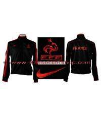 เสื้อวอร์มทีมชาติฝรั่งเศส สีดำขลิบแดง