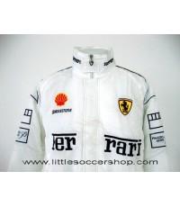 เสื้อแจ็คเก็ตทีมรถแข่งเฟอร์รารี่ สีขาว