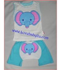 ชุดเสื้อกางเกงรูปช้างสีขาว ชุดกางเกงก้นบานมีหาง กางเกงทำไว้ให้เด็กสามารถใส่แพมเพริสได้