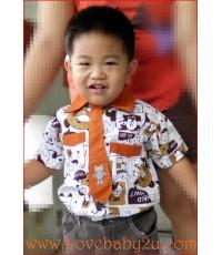 เสื้อเชิ๊ตเด็กชายแขนสั้น พร้อมเนคไท สไตล์เกาหลี อินเทรนด์ เท่ห์แบบสุดๆ