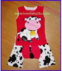 ชุดเสื้อกางเกงรูปวัว สีแดง แขนกุด กางเกงก้นบานมีหาง กางเกงเด็กสามารถใส่แพมเพริสได้