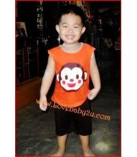 ชุดเสื้อกางเกงรูปลิง สีส้ม แขนกุด กางเกงก้นบานมีหาง กางเกงเด็กสามารถใส่แพมเพริสได้