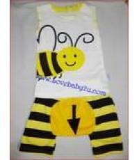 ชุดเสื้อกางเกงรูปผึ้งน้อย สีขาว แขนกุด กางเกงก้นบานมีหาง กางเกงเด็กสามารถใส่แพมเพริสได้