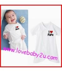 ชุดบอดี้สูทเด็กเล็ก I love mama สีขาว แบบเชือกผูกหน้า ขนาดฟรีไซต์ แรกเกิด - 6 เดือน
