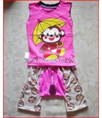 ชุดเสื้อกางเกงรูปลิงน้อยกางร่ม สีชมพู แขนกุด กางเกงก้นบานมีหาง กางเกงเด็กสามารถใส่แพมเพริสได้
