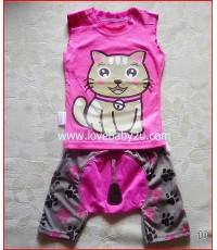 ชุดเสื้อกางเกงรูปแมวน้อยสีชมพู แขนกุด กางเกงก้นบานมีหาง กางเกงเด็กสามารถใส่แพมเพริสได้