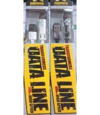 สาย Data Cable USB 2 in 1 ยีห้อ REMAX Transformer สายชาร์จ iPhone Smartphone (1000 mm.) ส่งฟรี!!!