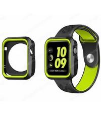 เคส ซิลิโคน กันกระแทก Soft Silicone Bumper for Apple Watch Series1,2,3 สีดำเขียว 42mm. (ส่งฟรี)