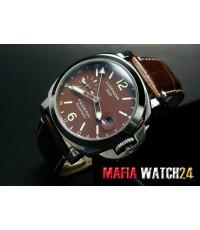 M0293 นาฬิกา PANERAI LUMINOR GMT 44mm. STEEL ALL BROWN DIAL PAM244 Speacial Edition Mirror Case Swis