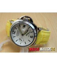 M0169 นาฬิกา Panerai Luminor Power Reserve Lady Boy Size 40 mm. Pam 90  สายเหลือง Mirror Case Swiss