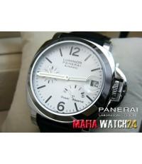 M0162 นาฬิกา Panerai Luminor Power Reserve Lady Boy Size 40 mm. Pam 90  สายดำ Mirror Case Swiss