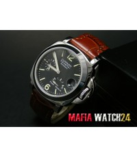 M0278 นาฬิกา Panerai Luminor Power Reserve Lady Boy Size 40 mm. Pam 90  หน้าปัดดำสายน้ำตาล Mirror
