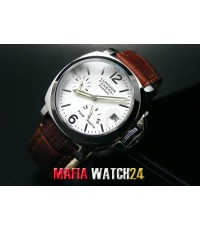 M0198 นาฬิกา Panerai Luminor Power Reserve Lady Boy Size 40 mm. Pam 90  สายคลิ๊ปล็อคหน้าปัดน้ำตาล