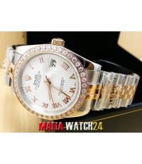 M0380 นาฬิกา Rolex Datejust Jubilee Mensize 36 mm.  Lady 26 mm Steel Rose Gold 2K Mirror