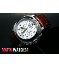 M0435 นาฬิกา Panerai Luminor Chrono Daylight 40mm.Lady Boy Size Mirror A3Plus Pam 251 สายหนังน้ำตาล