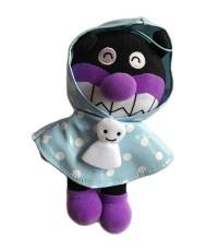 ตุ๊กตา Baikinman ใส่ชุดคลุมกันฝน สีม่วงดำฟ้า