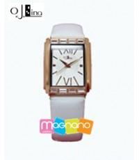นาฬิกาข้อมือแฟชั่นผู้หญิง OJ Lina OJ7027UWW ตัวเรือนโลหะผสม สายหนังผสมสีขาว นำเข้าจากเกาหลี