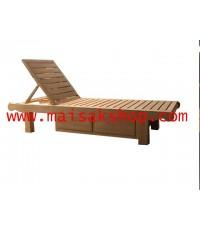 เฟอร์นิเจอร์ไม้สัก(Furniture) เตียงสนาม,เตียงสนามไม้,เตียงสระน้ำไม้สักแบบมีที่เก็บของ 2 ลิ้นชัก