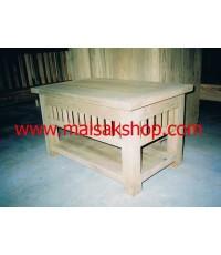 เฟอร์นิเจอร์ไม้สัก(Furniture)โต๊ะกลางชุดรับแขกไม้สักขาตรงเล่นลายไม้ชี้ มีลิ้นชักเปิดสำหรับใส่หนังสือ